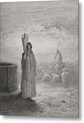 Jacob Keeping Laban's Flock Metal Print by Gustave Dore