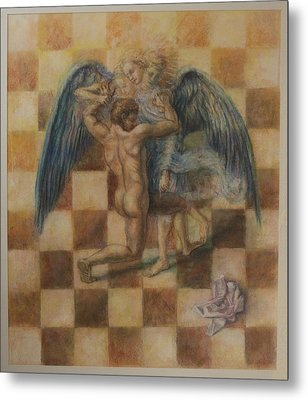 Jacob Wrestling The Angel Metal Print by Paez  Antonio