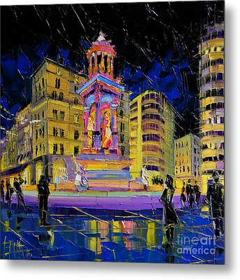 Jacobins Fountain During The Festival Of Lights In Lyon France  Metal Print