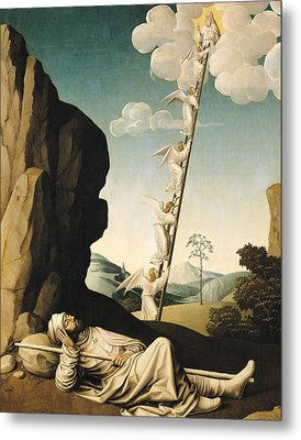Jacobs Ladder, C.1490 Oil On Panel Metal Print by French School