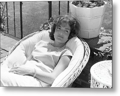 Jacqueline Kennedy Relaxing At Hyannis Port 1959. Metal Print by The Harrington Collection