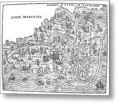 Jacques Cartier Map, 1566 Metal Print by Granger