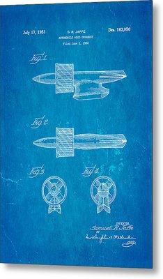 Jaffe Hood Ornament Patent Art 1951 Blueprint Metal Print by Ian Monk