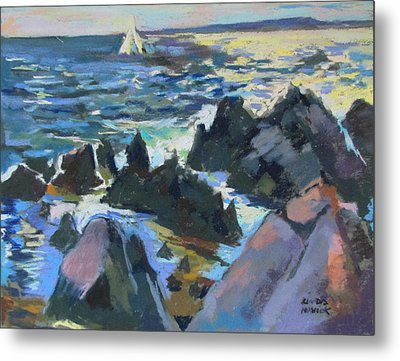 Metal Print featuring the painting Jagged Rocks by Linda Novick