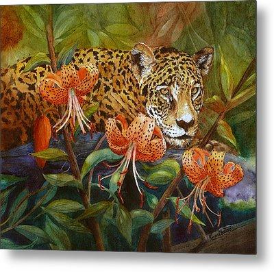 Jaguar And Tigers Metal Print by Karen Mattson