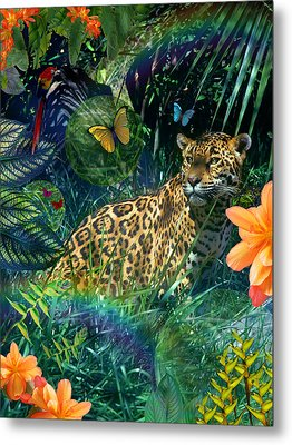 Jaguar Meadow Metal Print