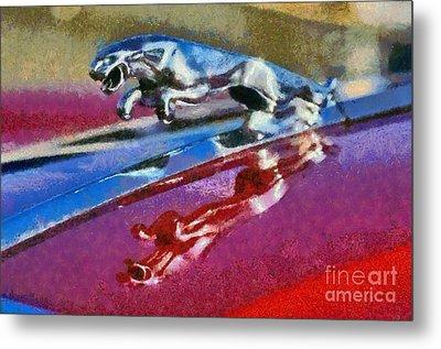 Jaguar V12 Badge Metal Print by George Atsametakis