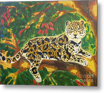 Metal Print featuring the painting Jaguars In A Jaguar by Cassandra Buckley