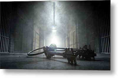 Jail Corridor And Keys Metal Print by Allan Swart
