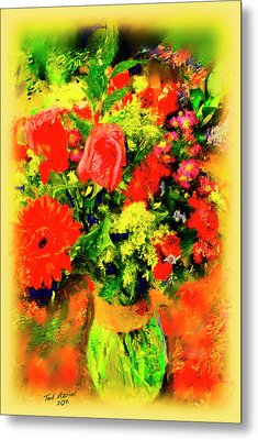 Metal Print featuring the painting J'aime Le Bouquet by Ted Azriel