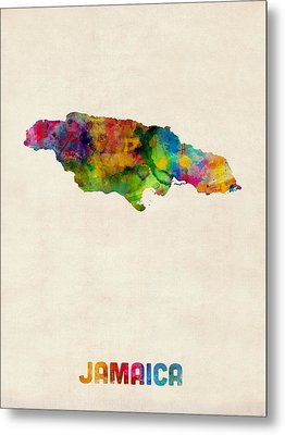 Jamaica Watercolor Map Metal Print by Michael Tompsett