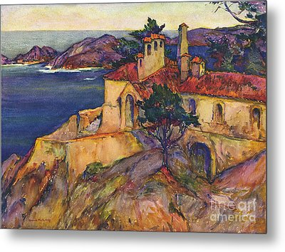 James House Carmel Highlands California By Rowena Meeks Abdy 1887-1945  Metal Print by California Views Mr Pat Hathaway Archives
