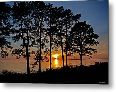 James River Sunset Metal Print by Suzanne Stout