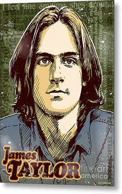 James Taylor Pop Art Metal Print by Jim Zahniser