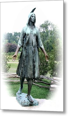 Jamestown Pocahontas Statue Metal Print by Christiane Schulze Art And Photography