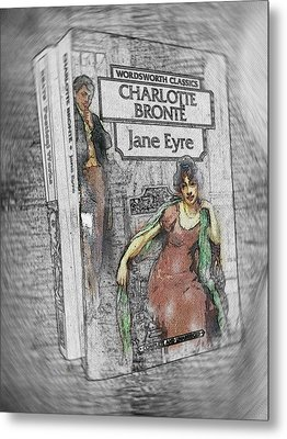 Metal Print featuring the painting Jane Eyre Book Abstract by Nik Helbig