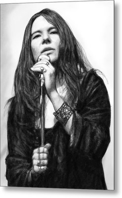 Janis Joplin Art Drawing Sketch Portrait Metal Print