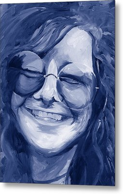 Janis Joplin Blue Metal Print by Michele Engling