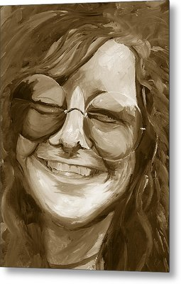 Janis Joplin Gold Metal Print by Michele Engling