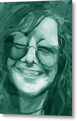 Janis Joplin Green Metal Print by Michele Engling