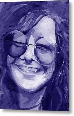 Janis Joplin Purple Metal Print by Michele Engling