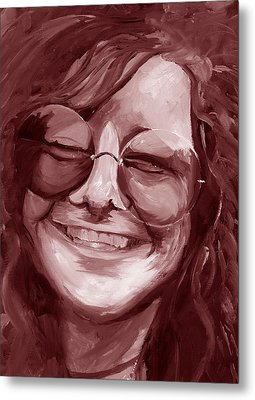 Janis Joplin Red Metal Print by Michele Engling