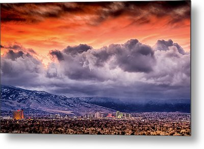 January Sunset Over Reno Metal Print by Janis Knight