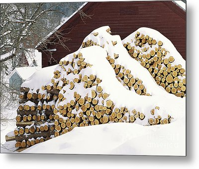 Metal Print featuring the photograph January Woodpile by Alan L Graham