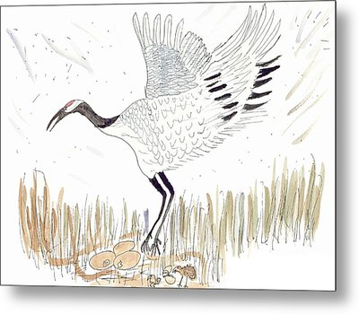 Japanese Crane And Her Nest Metal Print by Helen Holden-Gladsky
