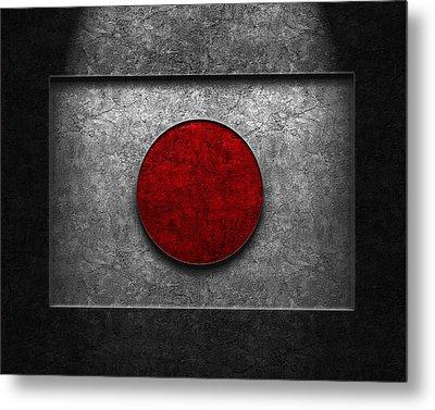 Japanese Flag Stone Texture Metal Print