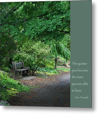 Japanese Garden Bench  Metal Print by Heidi Hermes