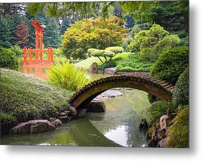 Japanese Garden - Footbridge Over The Pond - Gary Heller Metal Print by Gary Heller
