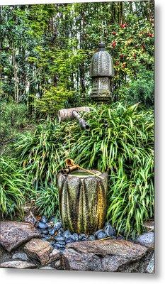 Japanese Garden Fountain Metal Print by Heidi Smith