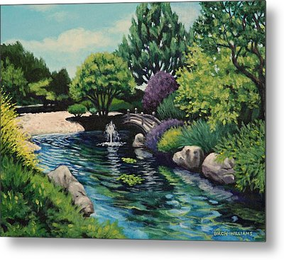 Japanese Garden Fountain View Metal Print by Penny Birch-Williams