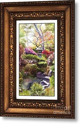 Japanese Garden In Vintage Frame Metal Print by Irina Sztukowski