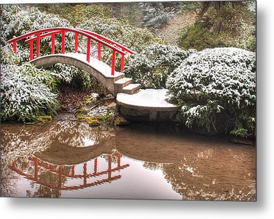 Metal Print featuring the photograph Japanese Garden Snowfall 2 by Jeff Cook
