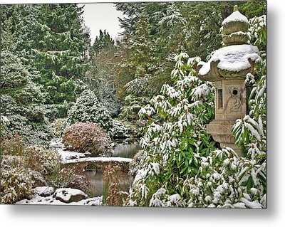 Metal Print featuring the photograph Japanese Garden Snowfall by Jeff Cook