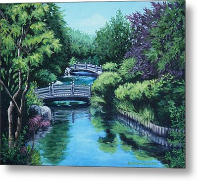 Japanese Garden Two Bridges Metal Print by Penny Birch-Williams