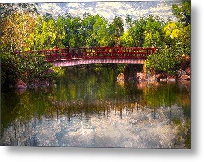 Japanese Gardens Bridge Metal Print by Debra and Dave Vanderlaan