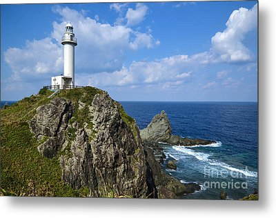 Japanese Lighthouse At Uganzaki Metal Print