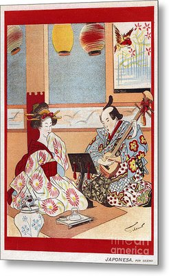 Japanese Music Scene 1898 1890s Japan Metal Print by The Advertising Archives