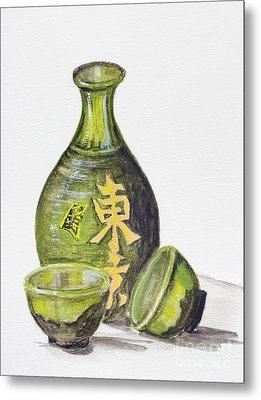 Japanese Rice Wine - Sake Metal Print by Irina Gromovaja