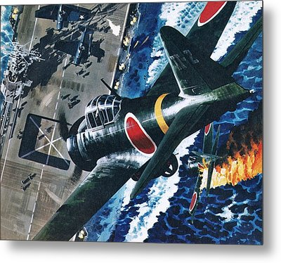 Japanese Suicide Attack On American Metal Print by Wilf Hardy