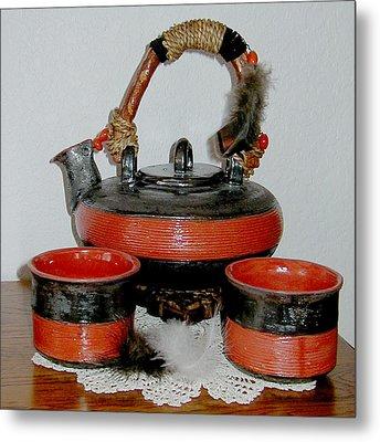 Japanese Tea Set Metal Print by Beth Gramith