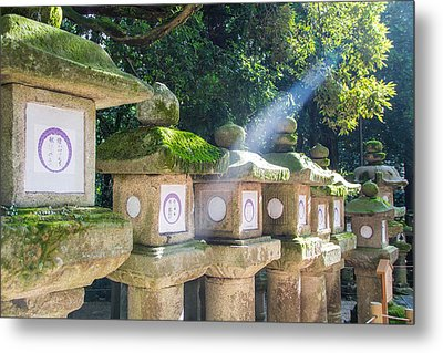 Japanese Toro Lantern For The Dead Found In Nara Japan Metal Print by Laura Palmer