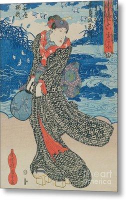 Japanese Woman By The Sea Metal Print by Utagawa Kunisada