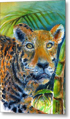 Metal Print featuring the painting Jaquar On The Prowl by Bernadette Krupa