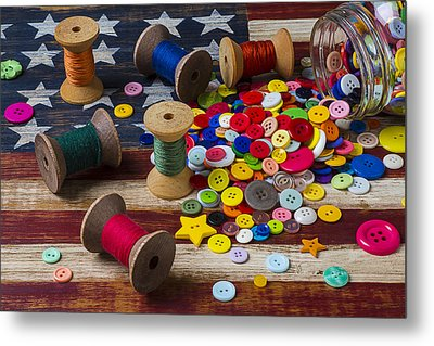 Jar Of Buttons And Spools Of Thread Metal Print by Garry Gay