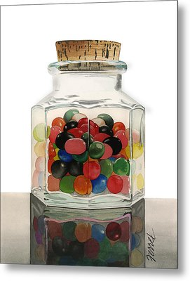 Metal Print featuring the painting Jar Of Jelly Bellies by Ferrel Cordle