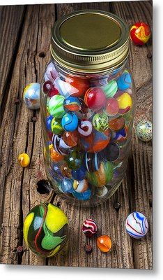 Jar Of Marbles With Shooter Metal Print by Garry Gay